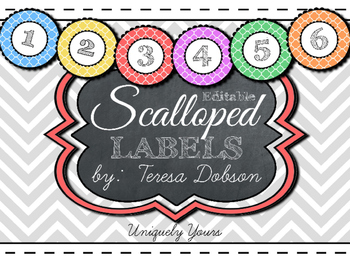 EDITABLE Scalloped Labels