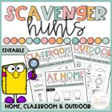 EDITABLE Scavenger Hunts   At Home, Outdoor & Classroom