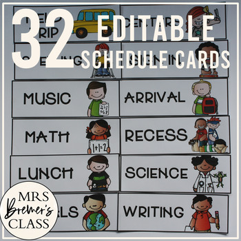 EDITABLE Schedule Cards {32 Different Options}