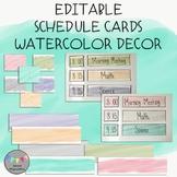 EDITABLE-Schedule Cards-Watercolor Decor