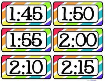{EDITABLE} Schedule Cards in Rainbow Colors