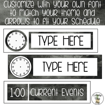 EDITABLE Schedule Labels with Clock - Black Watercolor Theme