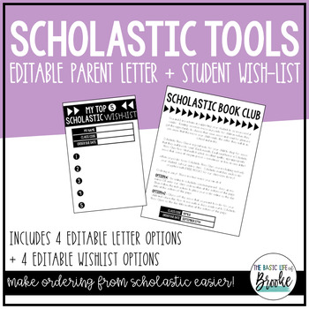 EDITABLE Scholastic Book Club Resources - Parent Letter + Student Wish-List