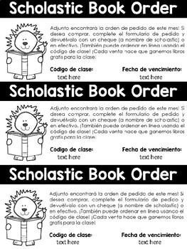 EDITABLE Scholastic Book Order Reminders plus Spanish Version