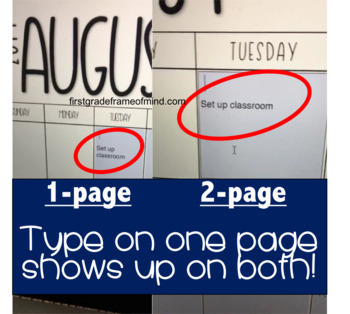 EDITABLE Calendar 2017-2018 1-page and 2-page spreads {FREE UPDATES}