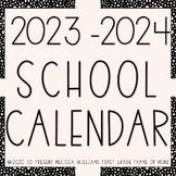 EDITABLE Calendar 2019-2020