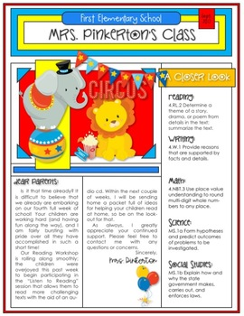 EDITABLE School Class Newsletter Template (Circus Theme)