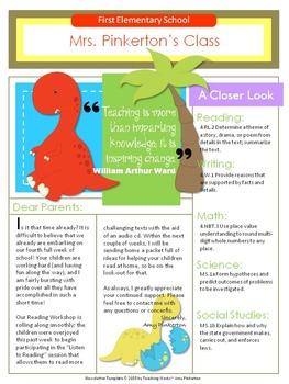 EDITABLE School Class Newsletter Template (Dinosaur Theme)