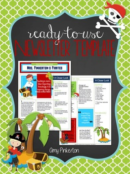 editable school class newsletter template pirates theme by