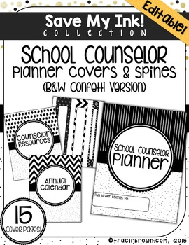 EDITABLE: School Counselor Planner Covers & Spines (B&W)