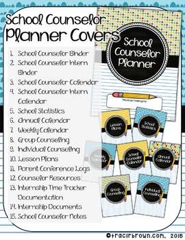 EDITABLE: School Counselor Planner Covers & Spines (School Spirit)