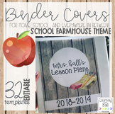 EDITABLE School Farmhouse Themed Binder Covers
