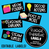 EDITABLE School Supplies Labels: includes 32 ready to prin