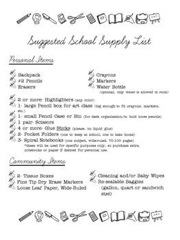 EDITABLE School Supply Lists (Grades K-6)
