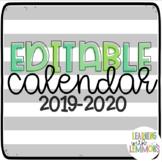 EDITABLE School Year Calendar! Bright Succulent Theme!
