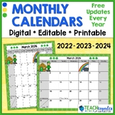 EDITABLE School Year Monthly Calendar 2017-2018