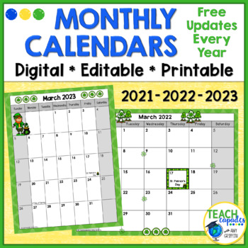 Editable School Year Monthly Calendar   Tpt