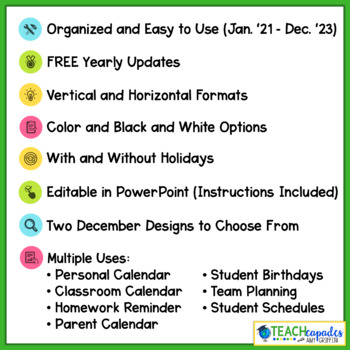EDITABLE School Year Monthly Calendar 2017-2018