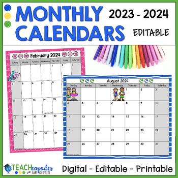 EDITABLE Monthly Calendar 2018 2019 By Mathcapades With Amy Griffith