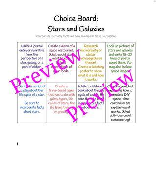 EDITABLE Science Choice Board: Stars and Galaxies