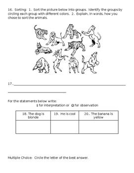 EDITABLE Scientific Investigation Assessment Test