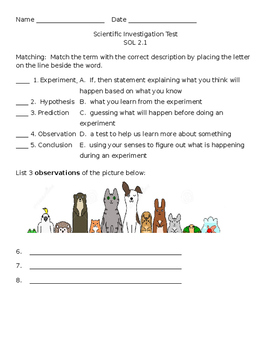 EDITABLE Scientific Investigation Assessment Test