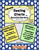 EDITABLE Seating Charts with Pencil Design & Beautiful Borders - 7 VERSIONS!!!!