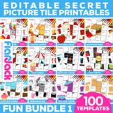 EDITABLE Secret Picture Tile Printables FUN THEME BUNDLE 1