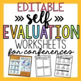 EDITABLE Self Evaluation Worksheets for Student Conferences
