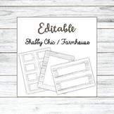 EDITABLE Shabby Chic White Wood | Name Plates, Labels, Bor