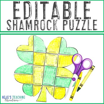 EDITABLE Shamrock or Clover Puzzle - Make your own activity on ANY topic!
