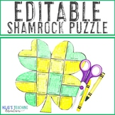 EDITABLE Shamrock or Clover Puzzle - Make your own activit