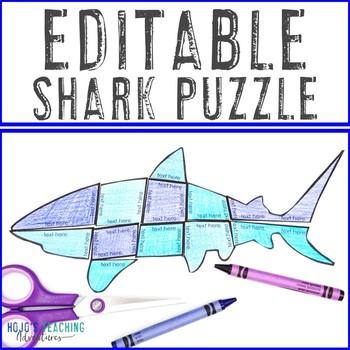 EDITABLE Shark Puzzle - Great for Baby Shark, Clark the Shark, or a Shark Theme