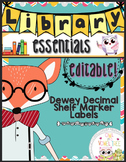 EDITABLE Shelf Marker Labels- Dewey Decimal for Libraries-