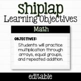 EDITABLE Shiplap Learning Objectives Display