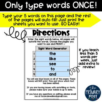 EDITABLE Sight Word Activities