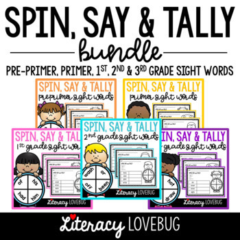 EDITABLE Sight Word Activity: Spin, Say and Tally BUNDLE II