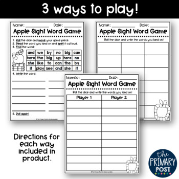 EDITABLE Sight Word Apple Game
