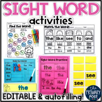 EDITABLE Sight Word BUNDLE