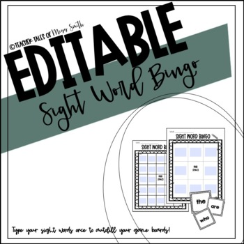 EDITABLE Sight Word Bingo