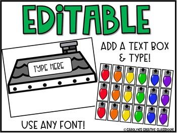 EDITABLE Sight Word Building - Christmas Lights Sight Word Literacy Center