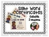 EDITABLE Sight Word Certificates