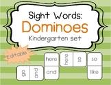EDITABLE Sight Word Dominoes - Kindergarten