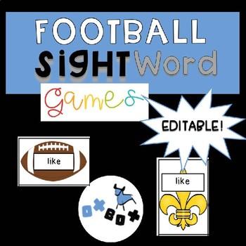 EDITABLE Sight Word Game: Football Theme