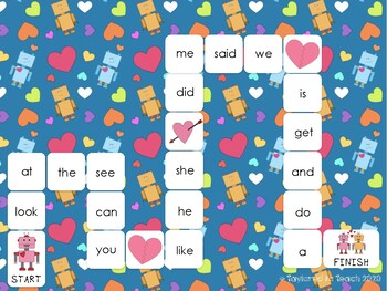 EDITABLE Sight Word Game Valentine's Day Robot Theme