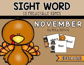 EDITABLE Sight Word Games // November Edition