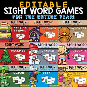 EDITABLE Sight Word Games // Yearlong Bundle