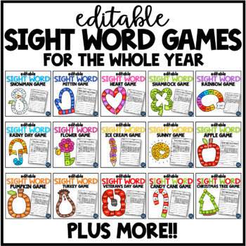 EDITABLE Sight Word Games for the Year GROWING BUNDLE