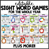 EDITABLE Sight Word Games for the Year