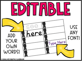 EDITABLE Sight Word Literacy Center - Bat Themed Sight Word Building